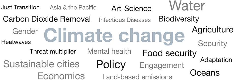 A word cloud showing climate change research themes in 2019, with Climate change the largest word