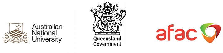 The logos for The Australian National University, Queensland Government, and AFAC respectively.