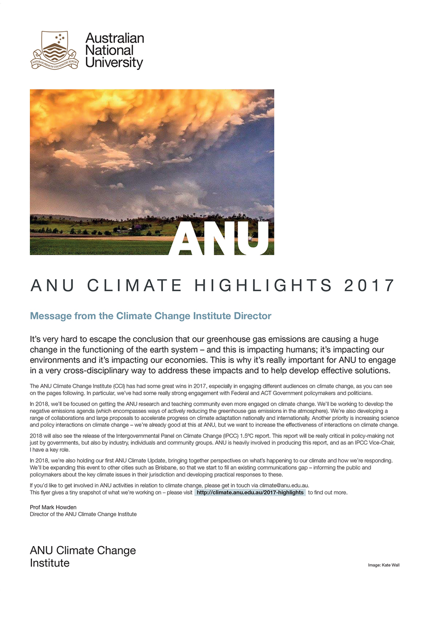 ANU Climate Highlights 2017