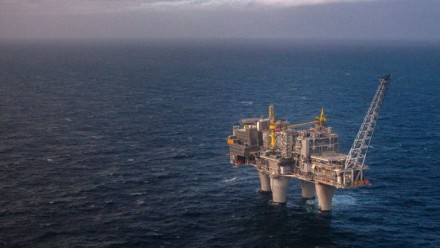 A natural gas platform in the North Sea.