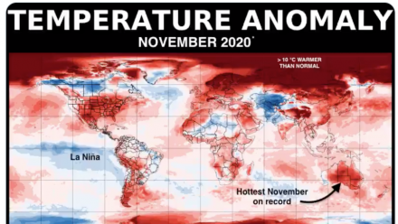 A map of the globe showing temperature anomalies - red shows hotter temperatures, blue shows cooler. The majority of the globe is showing as red.
