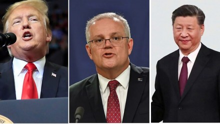 Three images cropped together - featuring Donald Trump, Scott Morrison, and Xi Jinping