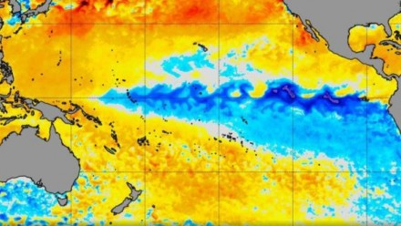 A visualisation of the cooler waters in the Pacific which are a distinctive element of a La Nina.
