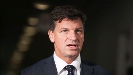 Energy Minister Angus Taylor speaking, looking towards the camera.