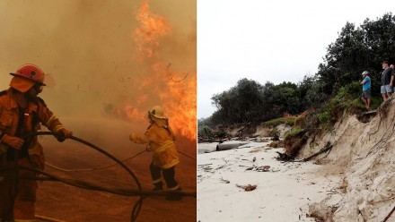 Two photographs side-by-side - one is of firefighters battling a blaze, another is of coastal erosion at Byron Bay.