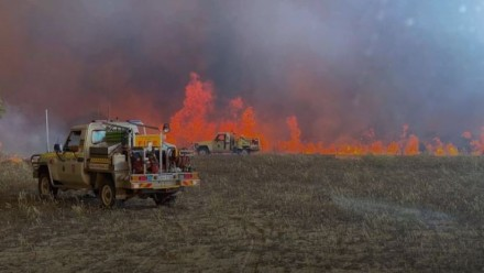A photograph of two fire-fighting utes parked near a grass fire.