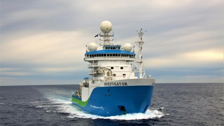 An image of the CSIRO's RV Investigator ship at sea.
