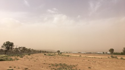 A photograph of a dust storm in Kilgariff, Alice Springs.