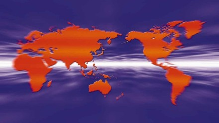 An artistic depiction of the world map in purple and red.