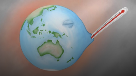 An illustration of Earth having its temperature measured with a thermometer