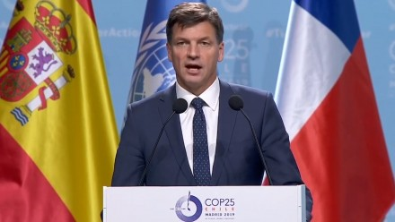 Angus Taylor speaks at the COP25 climate summit in Madrid. Photograph: Reuters