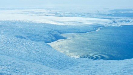 An aerial view of an area where the Antarctic Ice Sheet meets the sea.