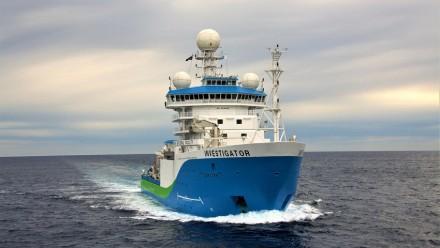 An image of the CSIRO's RV Investigator ship at sea.