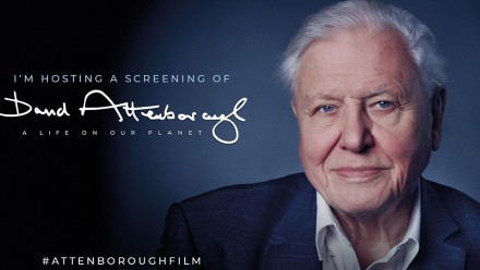 The promotional poster for A Life on Our Planet film screening, with a picture of David Attenborough wearing a suit and smiling at the camera, with a dark blue/grey background.