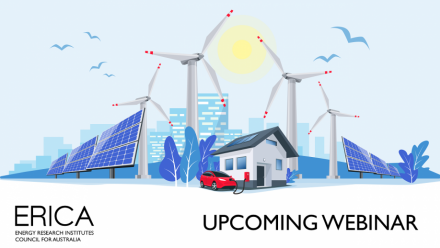 An artistic image of wind turbines, solar panels, and an electric vehicle, with the words 'ERICA upcoming webinar' below.
