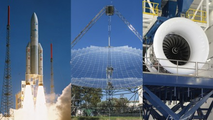 Composite image shows a rocket taking off, the ANU Big Dish and a jet engine