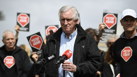 Dr John Hewson being interviewed by press