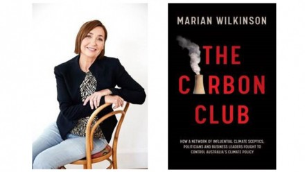 A photograph of Marian Wilkinson, alongside the cover of her new book The Carbon Club