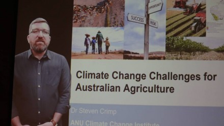 A screenshot of Dr Steven Crimp giving a presentation, with the slide 'Climate Change Challenges for Australian Agriculture' as the title.
