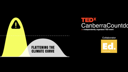 The promotional picture for TEDxCanberra's event, showing a graph with a steeply climbing and falling dataset, and a more shallow curved dataset.