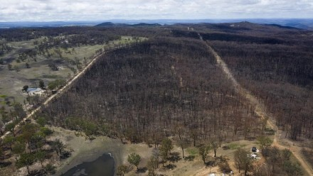 An aerial view of fire-ravaged bushland in Torrington, NSW, on January 15, 2020