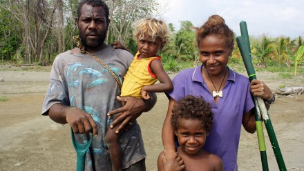 A family in the Solomon Islands