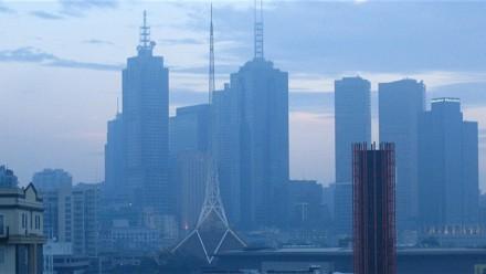 Smoke haze over Melbourne city.