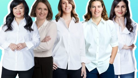 An image of the five women who won the L'Oreal Women in Science awards in 2020 - all wearing white shirts with jeans, with a light turquoise background.