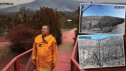 ACT Rural Fire Service chief officer Joe Murphy at the Namadgi Visitor Centre in February. Inset: The eastern side of Namadgi, four months apart.