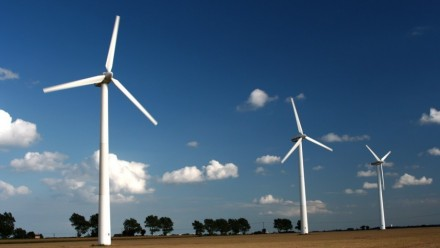 Three turbines in a wind farm.