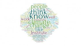 A word cloud based on interviews conducted for the CCI Evaluation, with the most prominent words being 'climate change', 'think' and 'know'..