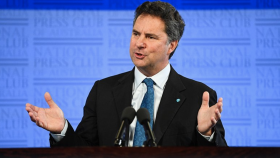 CSIRO Chief Executive Dr Larry Marshall addresses the National Press Club in Canberra.
