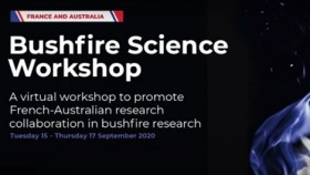 The promotional picture for the Bushfire Science workshop, with white text on a black background reading 'Bushfire Science workshop - A virtual workshop to promote French-Australian research collaboration in bushfire research'.