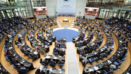 A photograph of the Bonn Climate Change Conference in October 2014.