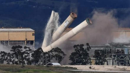 Chimney columns fall during the demolition of the Hazelwood power station, in Victoria, in May 2020