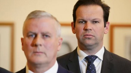 A photograph of National leader Michael McCormack and Matt Canavan