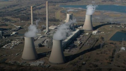 An aerial photograph of a coal-fired power station.
