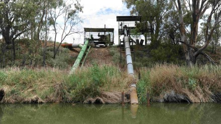 Irrigation pumps in the Barwon River near Brewarrina in New South Wales.
