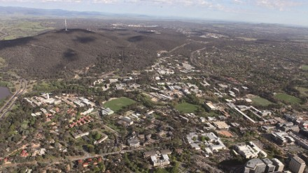 An aerial view of the ANU Campus, on a clear sunny day.