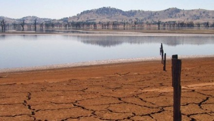 A cracked lakebed