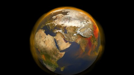 An image of the globe as seen from space, with orange indicating the areas of methane emissions.