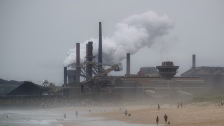 A photograph of a steelworks and coal loading facility in Port Kembla, New South Wales.