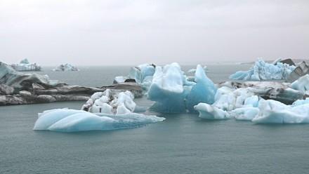 Icebergs floating in the ocean