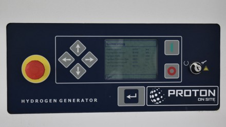 An LCD display on a hydrogen generator at the Envoenergy hydrogen refuelling station in Canberra