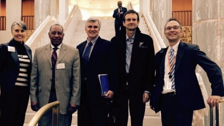 Prof Mark Howden and Prof Frank Jotzo at Parliament House with other IPCC participants