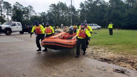 Members from Coast Guard Maritime Safety and Security Teams New Orleans, and MSST Kings Bay, conduct training in preparation for response operations during Hurricane Laura, near Mobile, Alabama, August 25, 2020