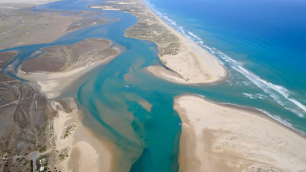 The mouth of the Murray River in South Australia, where little of the flows reach the sea even with dredging.