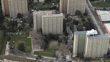 An aerial view of the public housing towers that were closed in response to Melbourne's second COVID-19 infection wave.