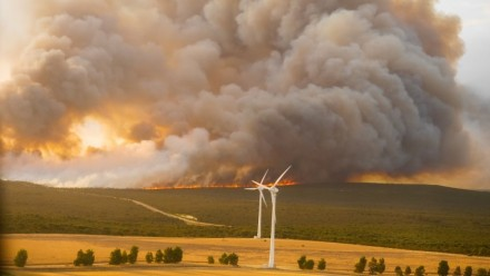 A photograph of wind turbines in a field, with large plumes of bushfire smoke rising in the distance.