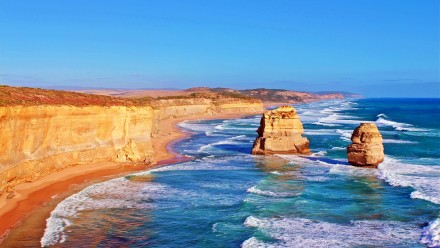 A photograph of the Twelve Apostle rock formation off the Great Ocean Road on the Victorian coastline.